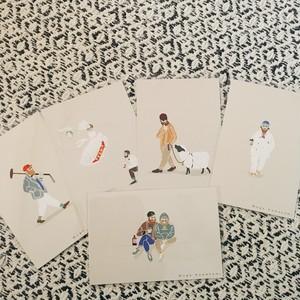 ポストカード5枚セット(POLOおじさん、ウェディング、羊おじさん、タピオカおじさん、飲み友達)