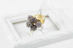 ラインストーンパヴェボールリング pve-ringblackdiamond6 ブラックダイヤモンド 指輪 パヴェ
