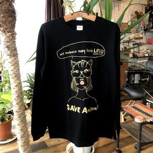 チャリティ ロンT/Cat/Black&Gold