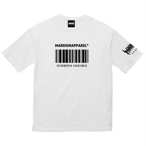 【Cotton100%】BAR CODE13 Big silhouette Tee (White×Black)