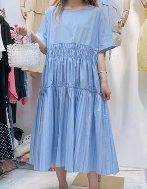 【6/5頃発送予定】ティアード&プリーツ コットンワンピース・ブルー