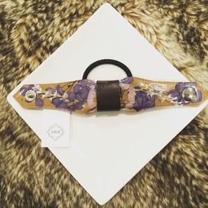 ポータブルフラワーヘアゴム秋冬(キャメル×紫陽花)