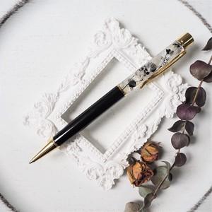 【アクリルケース付き】06ハーバリウムボールペン【Black & White】(モノトーンコーデ)
