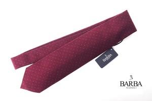 バルバ|BARBA|ウール×シルクドット柄ネクタイ|ボルドー