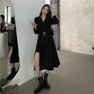 【ワンピース】韓国系長袖折り襟スリットAラインワンピース32306688