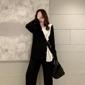 モード系 シャツ 長袖 モノトーン アシンメトリー 2Way 大人きれいめ カジュアル 通勤 女子会 20代 30代