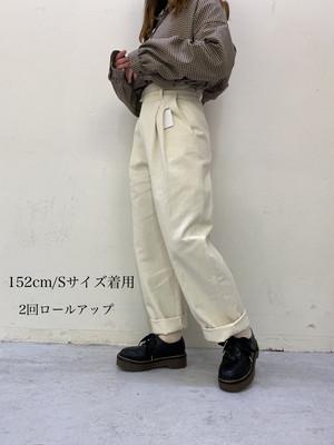 high waist tuck chino 【navy】【unisex】