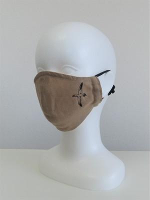 女性用 刺繍マスク 麻キャメル