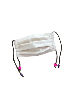 ハンドメイドマスク   ヘンプコットン ビーズ付き パープル×ピンク
