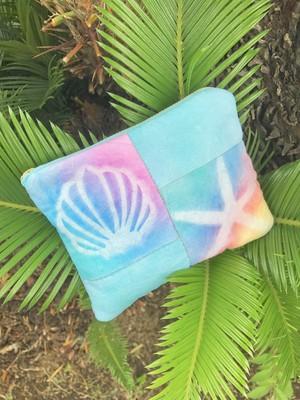 【一点物】太陽染め・ハワイアンなパッチワークのミニポーチb