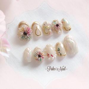 Pukeネイル[No.417] べジュー/フラワーかわいい押し花❁春・夏ネイルチップ