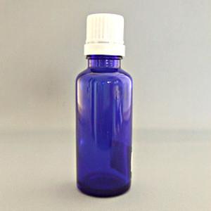 30mlブルー遮光ビン 白キャップ付き ×5個セット (BT030-1)