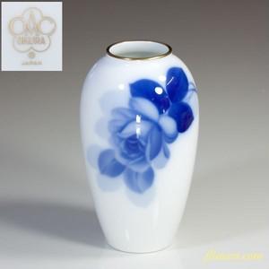 大倉陶園オールドブルーローズ花瓶T1383