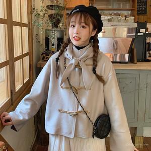 【アウター】学園風スタンドネックファッションスウィートボウタイコート