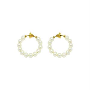 pearl hoop earring -S