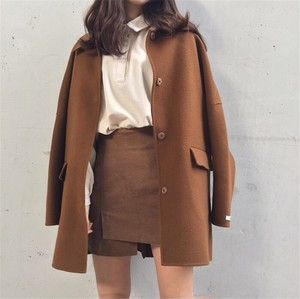 【アウター】気質よいシンプル折り襟合わせやす秋冬コート
