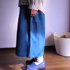 ワッシャーリネンキュロットスカート(濃いグリーン)