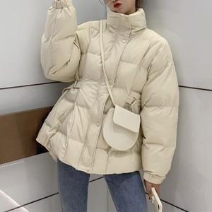 【アウター】韓国系ファッション長袖シンプル無地ショート丈ストラップベルト付きダウンコート24360419