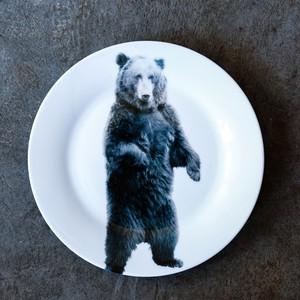 《michirico》動物たちの飾るお皿「立ちクマ」