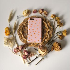 fuwa fuwa dot ( pink & orange ) スマホケース - L サイズ 【受注生産】