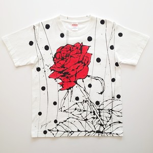 F's rose【 藤井清秀  Tシャツアート】レッド薔薇 ブラックドット S