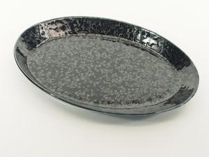 黒瑠璃結晶オーバルプレート(中)