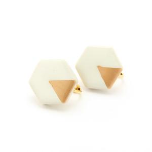 伝統工芸品 美濃焼 六角形 月華のイヤリング