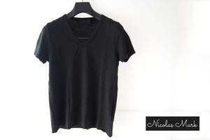 【9月末限定価格】ニコラス&マーク|Nicolas & Mark|Vネック半袖Tシャツ|M|ブラック