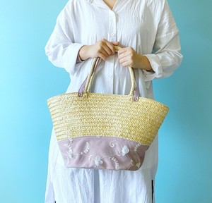 かご トートバッグ 帆布 ラベンダー & チュール 花柄 ホワイト & 本革 シルバー箔押しピンク
