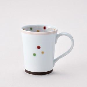 色彩水玉 マグカップ赤