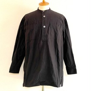 Horse Cloth Band Collar Square Long Shirts Black