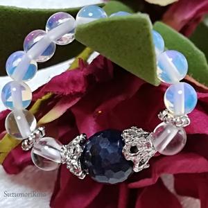 【リング】天然石パワーストーンリング(指輪)-サファイア・水晶-(ring-013)