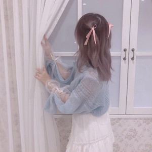 tulle & ribbon sleeve knit