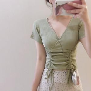 【トップス】半袖レトロ簡約・シンプルVネックTシャツ