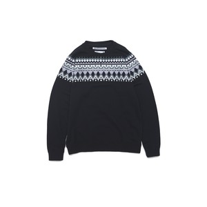 ROUND YOKE MULTI JACQUARD SWEAT - BLACK