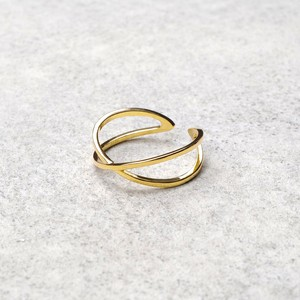 S925 CROSS OPEN RING GOLD