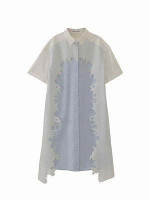 Layered shirt dress / white × baby blue / S15DR01