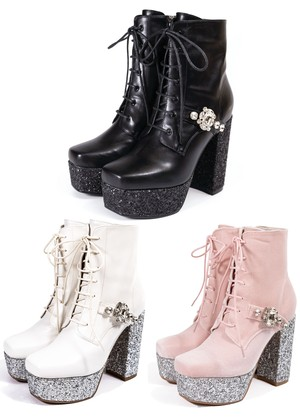 【ManonMimie】Jewelry Lace-up Boots
