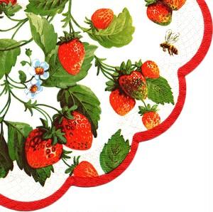 【IHR】バラ売り1枚 ラウンド ペーパーナプキン FRESH STRAWBERRIES クリーム