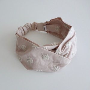 アナベル刺繍のヘアバンド グレイッシュピンク