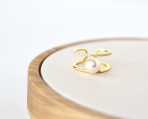 Double line one pearl ring