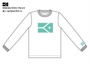 《限定販売 完全受注生産》KYUSフラッグ柄 ドライメッシュロングスリーブTシャツ(ホワイト×エメラルドグリーン)