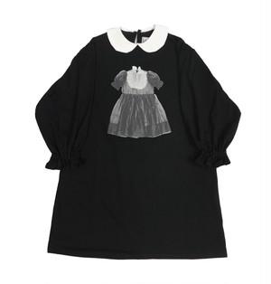丸襟カットソーワンピース ブラック