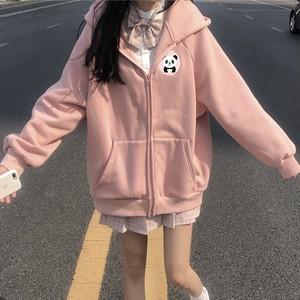 【アウター】元気少女韓国風chicレトロゆったりフード付き可愛いパンダコート