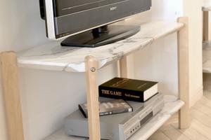 Marble Open 2 Shelf 900 / 大理石モダンスタイル 大理石調 2段シェルフ棚 900