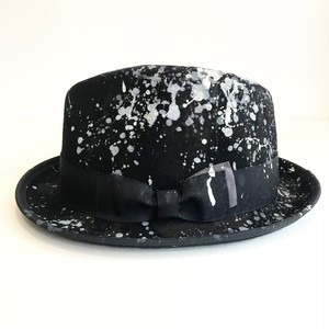 Circle original handpaint HAT 「Black Drip hat」