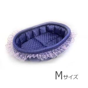 ふーじこちゃんママ手作り ぽんぽんベッド フリル付き(サテンパープル)Mサイズ【PB21-074M】
