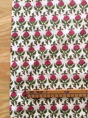 【NEW】block print 白地にピンクのアザミ