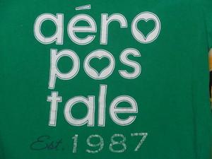 USA古着プリントTシャツL深緑エアロポステール片面綿100美品
