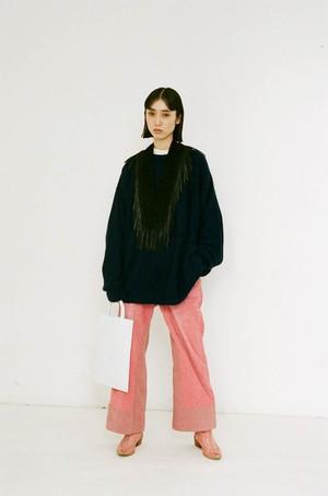 Corduroy color wide pants/A
